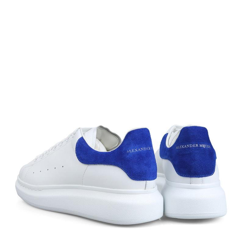 0bf81666eb84 Alexander McQueen 男士牛皮白色与蓝色圆头绑带板鞋休闲鞋441631-WHNBZ ...